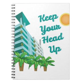 Håll upp huvudet anteckningsbok med spiral