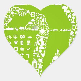 Håll världen ren/vänliga Eco Hjärtformat Klistermärke