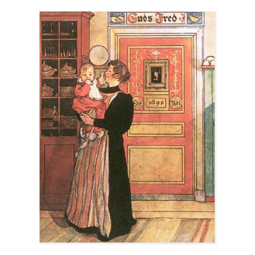 Hållande baby för mor i kök vykort