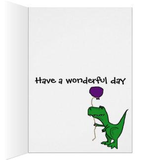 Hållande ballong för rolig grön Trex Dinosaur Hälsningskort