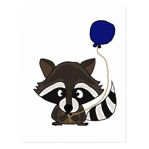 Hållande ballong för rolig Raccoon Vykort