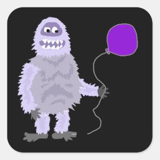 Hållande ballong för rolig skraj avskyvärd fyrkantigt klistermärke