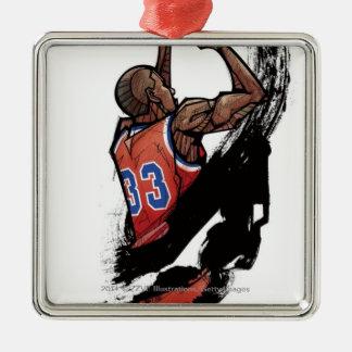 Hållande boll för basketspelare julgransprydnad metall