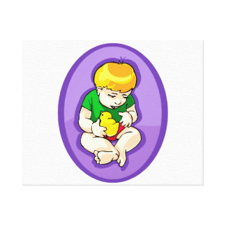hållande chicklilor oval.png för småbarn canvastryck