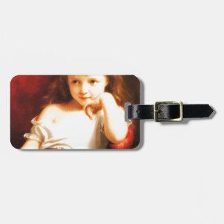 Hållande docka för flicka (vintagekonst) bagagebricka