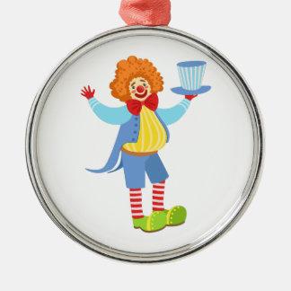 Hållande top hat för färgrik vänlig clown i julgransprydnad metall