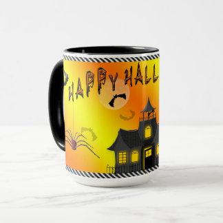 Hallo-ween mugg - fladdermöss, spökat hus