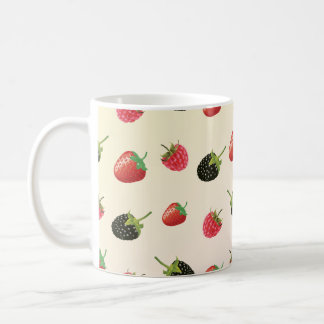 Hallon jordgubbe, björnbär: sommarfrukt kaffemugg