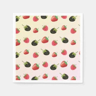 Hallon jordgubbe, björnbär: sommarfrukt papper servett