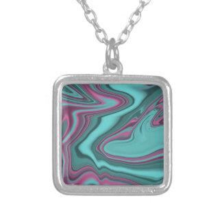 hallon- och aquaagate silverpläterat halsband