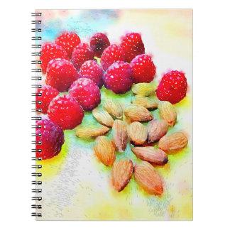 Hallon- och mandelvattenfärg anteckningsbok med spiral