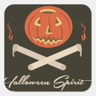 Halloween andeflagga fyrkantigt klistermärke