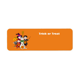Halloween barntrick eller behandling returadress etikett