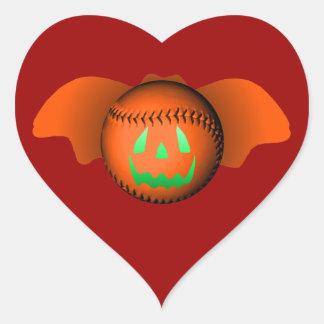 Halloween baseballfladdermöss hjärtklistermärken