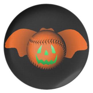 Halloween baseballfladdermöss tallrikar