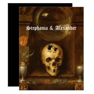 Halloween bröllop, Goth, skalle, beställnings- 10,8 X 14 Cm Inbjudningskort