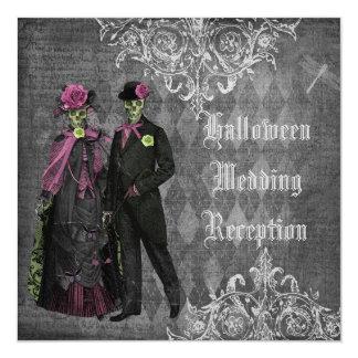 Halloween brud- & brudgumbröllopmottagande endast fyrkantigt 13,3 cm inbjudningskort