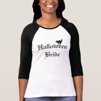 Halloween brudskjorta med den svart katten t shirt
