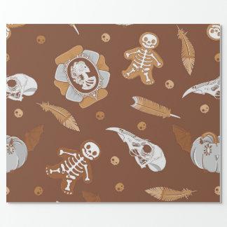 Halloween brun seamless bakgrund med kakor presentpapper