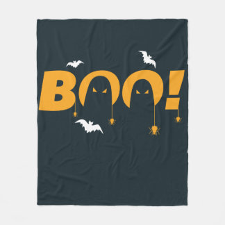 "Halloween ""bu"" med fladdermössspindlar fleecefilt"
