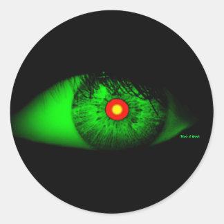 Halloween coola och kusligt öga av häxan runda klistermärken