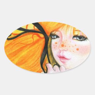 Halloween Cutie får fräknar klistermärkear Ovalt Klistermärke