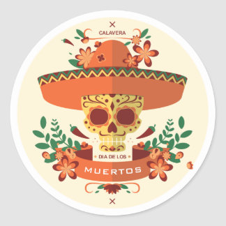 Halloween. Diameter De Los Muertos. SockerSkulls. Runt Klistermärke