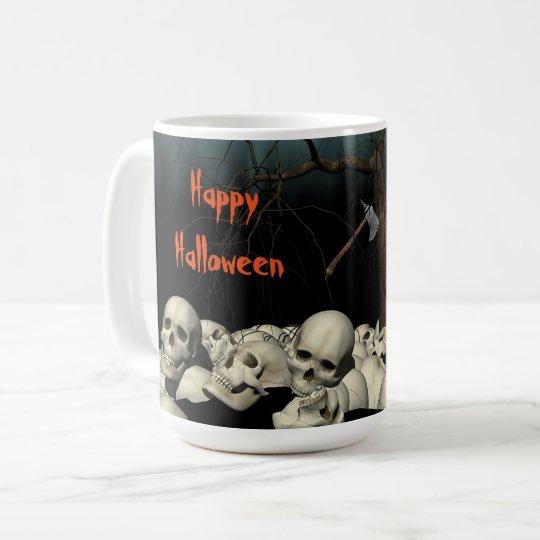 Halloween döskallar och citationstecken vit mugg