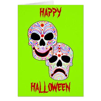 Halloween DOTD Komedi-Tragedi döskallar Hälsningskort