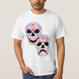 Halloween DOTD Komedi-Tragedi döskallar Tee Shirt
