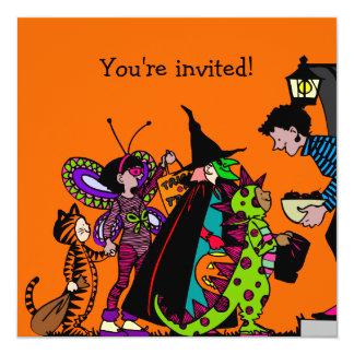 Halloween dräktparty fyrkantigt 13,3 cm inbjudningskort