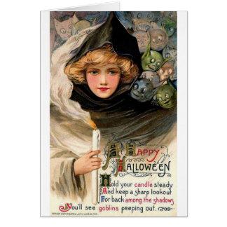 Halloween elakt troll i skuggar, hälsningskort