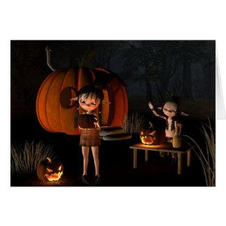 Halloween elakt troll med pumpahuset hälsningskort