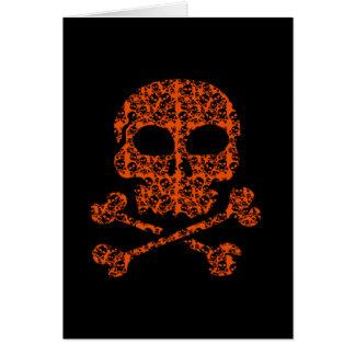 Halloween färger!  Orange- och svartdöskallar Hälsningskort