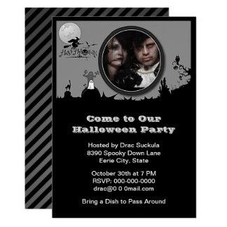 Halloween fest häxa, spöke, katt, lägg till bild 12,7 x 17,8 cm inbjudningskort