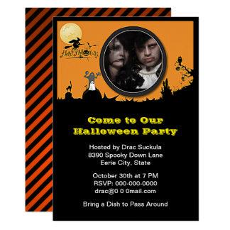 Halloween fest häxan, spöken, katt, tillfogar ditt 12,7 x 17,8 cm inbjudningskort