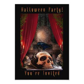 Halloween festinbjudan - Ravenshåla 12,7 X 17,8 Cm Inbjudningskort