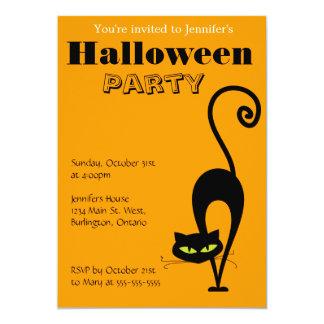 Halloween festinbjudan - svart katt 12,7 x 17,8 cm inbjudningskort