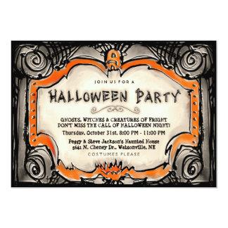 Halloween festinbjudan - svart & orange gräns 12,7 x 17,8 cm inbjudningskort