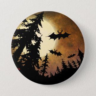 Halloween fladdermöss, spöklik skog på fullmånen mellanstor knapp rund 7.6 cm