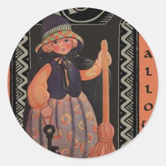 Halloween flicka runt klistermärke