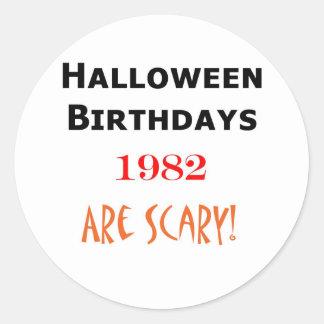 halloween födelsedag 1982 runt klistermärke