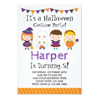 Halloween födelsedaginbjudan, dräktparty 12,7 x 17,8 cm inbjudningskort