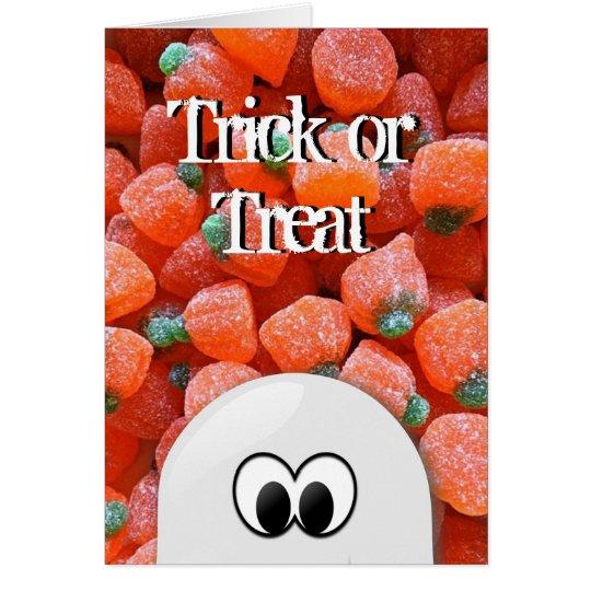 Halloween för bus eller godis för spökepumpagodis hälsningskort