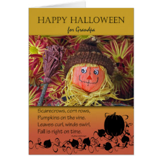 Halloween för farfar, fågelskrämma och dikt hälsningskort
