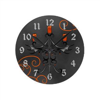 Halloween för gotisk kandelaber nätt orange och rund klocka