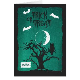 Halloween för måne & fladdermöss för träd för hälsningskort