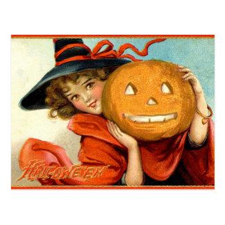 Halloween för pumpa för vintageflickahäxa vykort