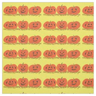 Halloween för tre lyckligt le pumpor tyg