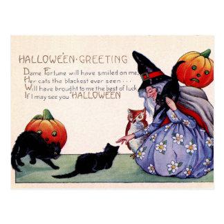 Halloween för uggla för katt för vintagehäxasvart vykort
